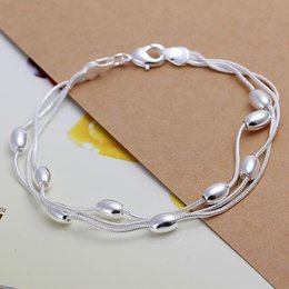 Wholesale H236 silver bracelet silver fashion jewelry Three Line Gloss Ball Bracelet azvajrca awjajnqa