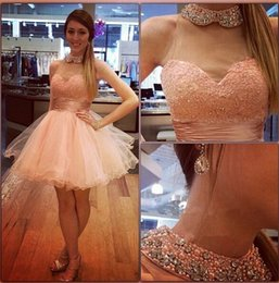High neck tulle pearl pink ball gown lace beading piping short mini prom graduation cocktail dresses evening gowns plus size party guest