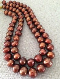 Elegant double strands 12-13MM NATURAL SOUTH SEA CHOCOLATE PEARL NECKLACE 18 inch 19 inch 14k gold clasp
