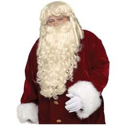 Wholesale 100 Free Shippi New High Quality Fashion Picture wigs gt gt Super Deluxe Santa Claus Wig Beard Set Adult Mens Christmas Costume Accessory