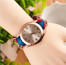 Promotion regarder rose d'or Nouvelle Arrivée Handmade Rope Bracelet Montre Bohemia Golden Chain Robe Tissu Montre Mode Femmes Casual Watch