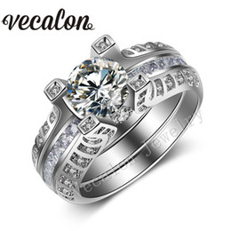 Vecalon Vintage New 5ct Simulated diamond cz 2-in-1 Engagement Wedding Band Ring Set for Women 14KT White Gold Filled Party ring