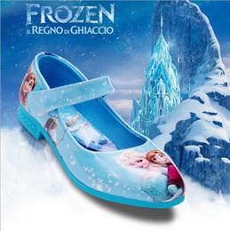 Wholesale Elsa Anna Princess Girl Sandals Shoes For Dresses Frozen Single Shoes for Baby Kids Fashion Dress Shoes EUR