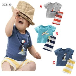 Wholesale 3 Design Boy aircraft bird ship stripe Suit new children cartoon Short sleeve T shirt shorts Suit B001