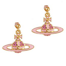 Wholesale 100 Brand New High Quality Fashion Picture lt lt Pink dots UFO ORB Saturn pink diamond earrings VE32015703