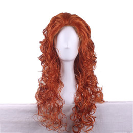Wholesale Animated brave movie princess merida wig anime heat resistant wavy long orange cheap wigs curly synthetic wigs cosplay wig