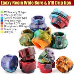 Newest Wide Bore Mouthpiece Epoxy Resin Drip Tip Cover Caps Battle Cap AV able Kennedy24 2Roughneck TFV8 Limitless RDTA e cigs Mods RDA Tips