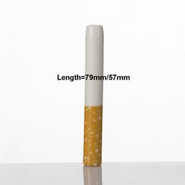 Wholesale DHL Ceramic Cigarette Hitter Pipe mm mm Yellow Filter Color Cig Shape Smoke Tobacco Pipes Herb One Bat Portable