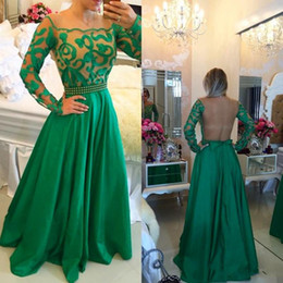 2016 Green Evening Dresses with Long Sleeve Sexy Sheer Back A Line Lace Floor Length Evening Gowns