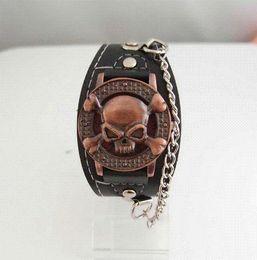 Wholesale Cool Copper Skull Leather Watch Men Fashion Quartz Wrist Watch Cheap watch module High Quality watch silicon
