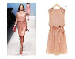 H&F Hot Style Summer Womens Chiffon Handmade Bead Shoulder Bow Belt Sleeveless Pleated Vest Dress Vestidos