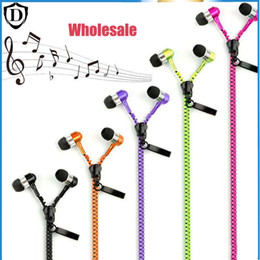 Wholesale Zipper Earphones headset Stereo 3.5mm Jack Bass metal with Mic and Volume for iPhone LG Samsung Xiaomi MP3 4 Free DHL