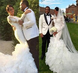 Exquisite Long Sleeves Appliques Lace Wedding Dresses 2016 Sexy Mermaid Beaded Ruffle Tiers Vestidos De Novia Custom Made Bridal Gowns