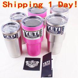 Wholesale 30oz oz oz Pink Yeti Coolers Cups YETI Rambler Tumbler Cup Cars Beer Mug Tumblerful Vacuum Insulated Stainless Steel Mugs Free Ship