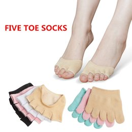 Wholesale Sexy Open Toed Orange Heels - New Fashion Women Forefoot Socks Female Antiskid Invisible Five-Toe Socks Lady Open Toed Sock Peds Liners For High Heels Sandals