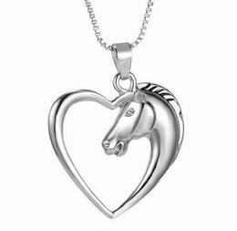 Wholesale Hollow Heart Horse Pendant Necklace Silver plated Horse in Heart Necklace Christmas Birthday Gift