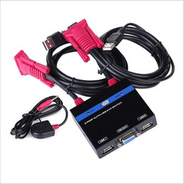 Wholesale 2 Port USB KVM Selector VGA Manual Switch Box W Cable For PC Keyboard Mouse Monitor