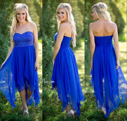Country Style Royal Blue Cheap Bridesmaids Dresses Sequins Beaded Sweetheart Chiffon Hi-lo A Line Bride Maid Gowns For Girls Under $80