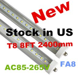 Stock In US +8 feet led tubes single pin t8 FA8 Single Pin LED Tube Lights 48W 4800Lm Bulbs 2400MM led lights LED Fluorescent Tube 85-265V