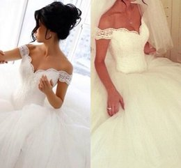 2016 Wedding Dresses Off Shoulder Lace Ruched Tulle Ball Gown Elegant Plus Size Bridal Gowns Custom Made Princess Wedding Gowns