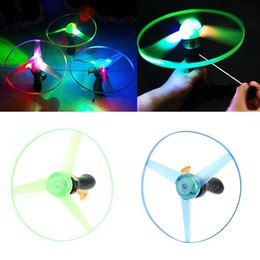 Wholesale-1pc LED Light Spin Frisbees Toy Outdoor Boomerangs Flying Saucer Helicopter UFO Toys