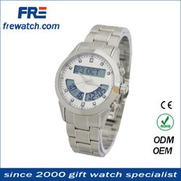 Wholesale Amazing musilm digital dual azan time watch stainless steel metal case Japan movt quartz watch from china