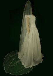 New Top Quality Elegant Luxury Amazing Cheap Best Sale Chapel White Ivory Ribbon Edge Veil Bridal Head Pieces For Wedding Dresses