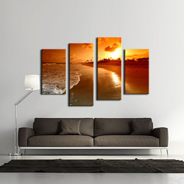 4 Picture Combination Wall Art Seaside At Sunset Painting The Picture Print On Canvas For Home Decor Decoration Gift piece