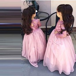 Long Sleeves Girls Pageant Dresses Lace Lovely Illusion Sheer Neck Flower Girls Dresses For Weddings Hollow Back Organza Kids Party Dress