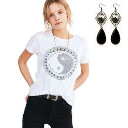 Wholesale Chinese style Women s Short Sleeve T Shirt Tunic Geometric Pattern Round Neck Blouse Casual Basic Summer Tee Tops White