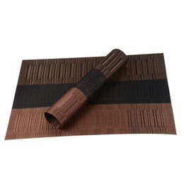 Wholesale Set of PVC Bamboo Plastic Placemats for Dining Table Runner Linens placemat in Kitchen Accessories Cup Wine mat