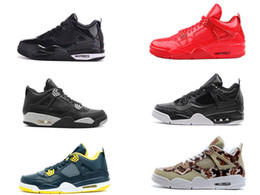 Wholesale Retro IV Shinny LAB4 mens basketball shoes LS Oreo jump mans footwear Premium Snakeskin sneaker s black red