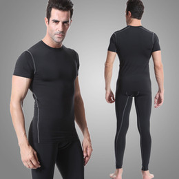2016 New compression tights running set men quick dry sports suit gym training wear fitness short sleeve t-shirts pants free shipping