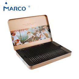Древесное масло для продажи-Top Marco Ренуар масло цветные карандаши Профессиональные Цветные карандаши для художников Подробнее Яркий Черный Вуд Олово 48 цветов 3200-48Tn