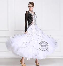 2016 new black white customize ballroom Waltz tango Quick step competition dress