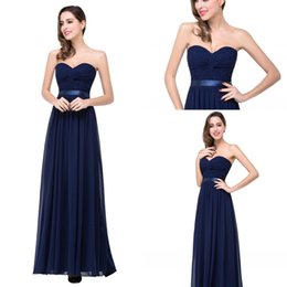 Wholesale 2016 New Sexy Burgundy Wine Navy Blue Prom Party Dresses Chiffon Long Sashes Strapless Zipper Floor Length Summer Beach Formal Evening Gowns