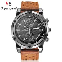 La montre-bracelet pour hommes en Ligne-2016 Nouvelle marque de luxe V6 Hommes Montres militaire Sport Montres bracelet en cuir Bracelet Quartz Montre Grande Dial Homme Horloge Reloj Hodinky
