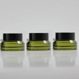 15g light green glass cream jar with black plastic lid, 15g cosmetic jar,packing for sample eye cream,15g mini glass bottle