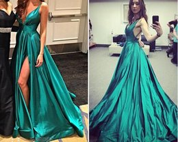 Wholesale Sexy High Slit Evening Dresses Aquamarine Taffeta Deep V Neck Split Long Prom Dresses Sweep Train Queen Style