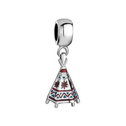 Fashion design high quality metal tee-pee charms colorful enamel byobu dangle charm Europea Beads Fit All Brands Bracelet