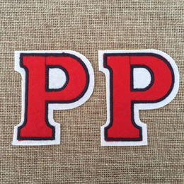 5.5cm*6.5CM New fashion Font P Badge Iron on Patches of Stickers, Soccer team Woven Label Patch Wholesale, DIY Cloth Accessories