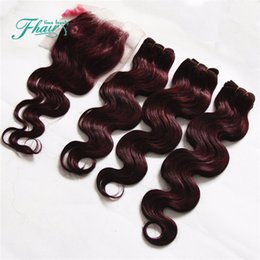 Hot Sale Pure Color #99J Wine Red Hair Weaves With Lace Closure 4Pcs Lot 9A Burgundy Body Wave Human Hair With Closure