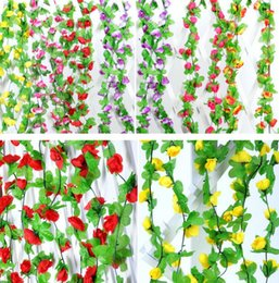 2.3m 7.5ft Artificial Rose Flower Ivy Vine Leaf Garland Romantic Wedding Party Home Decor Christmas indoor outdoor decorations props rattan