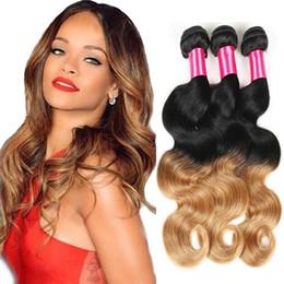 Brazilian Body Wave Ombre Brazilian Hair 1B #27 Ombre Human Hair 3 4pcs lot Brazilian Hair Weave Bundles No Shedding