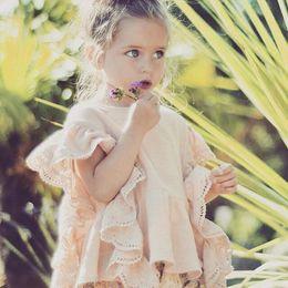 Wholesale INS HOT beautiful baby girl toddler children wear Lotus leaf lace vest new flounce shirt soft cotton pink shirt tanks blouse tops