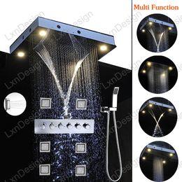 Wholesale led shower complete set function ceiling mounted remote control led shower brass shower valve massage body spray jets