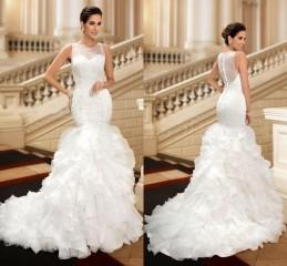 Wholesale 2016 Vintage Wedding Dresses Custom Made Real Pic Beaded Sequins Bridal Gowns Jewel Sleeveles Ruffled Buttom Cheap Weddings Gown Court Train