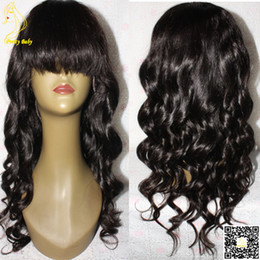 Full Lace Human Hair Wigs Body Wave With Bangs Peruvian Lace Front Human Hair Wig Wavy Hair Glueless Wig Full Bangs