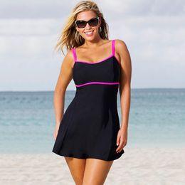2017 xl negro tankini 3XL 4XL 5XL Tank Top traje de baño de mujer Swim vestido de capa 1pc Tankini Top doble correas de hombro Black Swimdress xl negro tankini limpiar