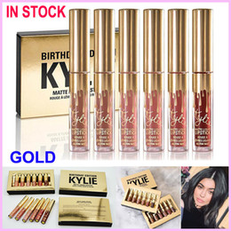 Wholesale Kylie Matte Lord Metal Gold LIMITED EDITION KYLIE BIRTHDAY COLLECTION Lip gloss Kylie Cosmetics Mini Matte Liquid Lipstick Birthday Edition